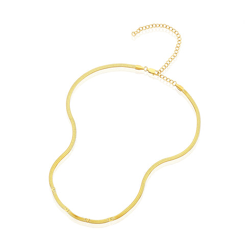Love Embossed Snake Chain Necklace gold