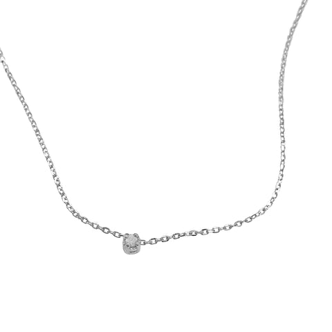 Floating Diamond Necklace silver