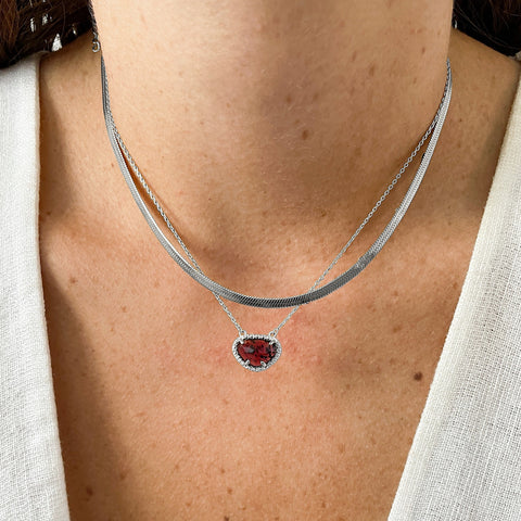 January Birthstone Necklace garnet silver gold