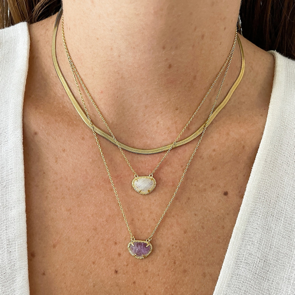 April Birthstone Necklace moonstone silver gold