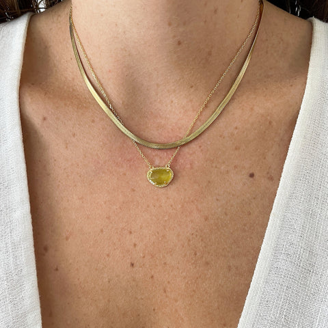 August Birthstone Necklace peridot silver gold