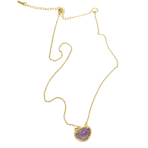 February Birthstone Necklace amethyst silver gold