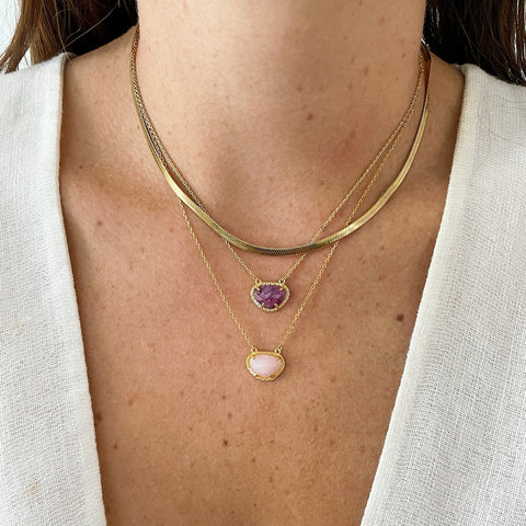 July Birthstone Necklace ruby silver gold
