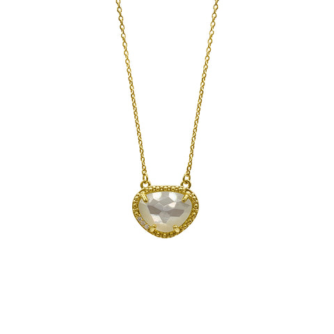June Birthstone Necklace freshwater pearl silver gold