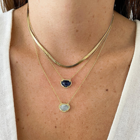 March Birthstone Necklace aquamarine silver gold