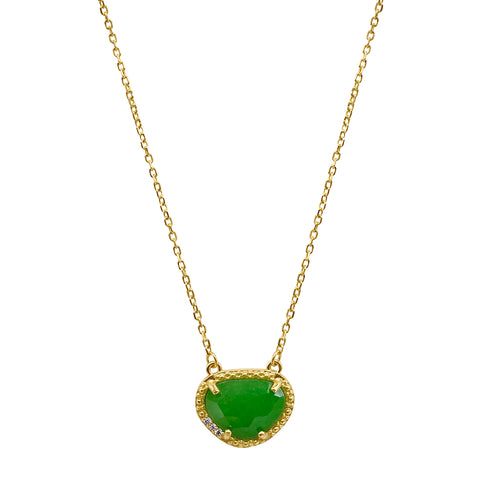 May Birthstone Necklace emerald silver gold