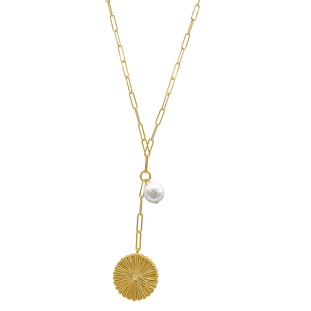 Sunburst Pendant Y- Necklace with Pearl Drop gold
