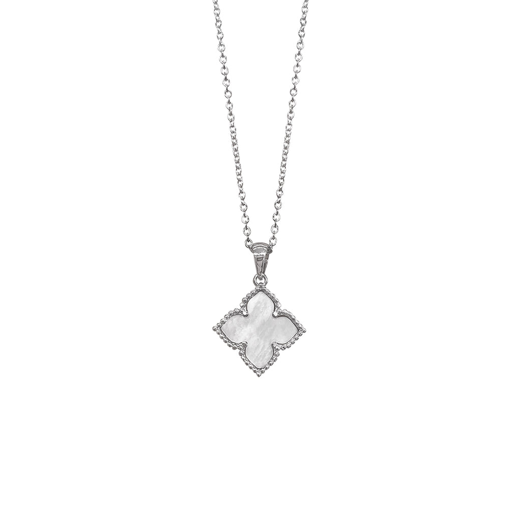 Flower Mother of Pearl Necklace silver white