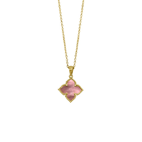 Flower Mother of Pearl Necklace gold pink