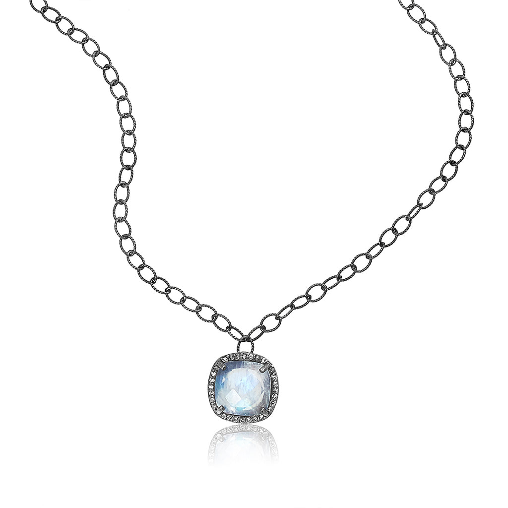 Cushion Cut Diamond Halo Moonstone Pendant Necklace silver