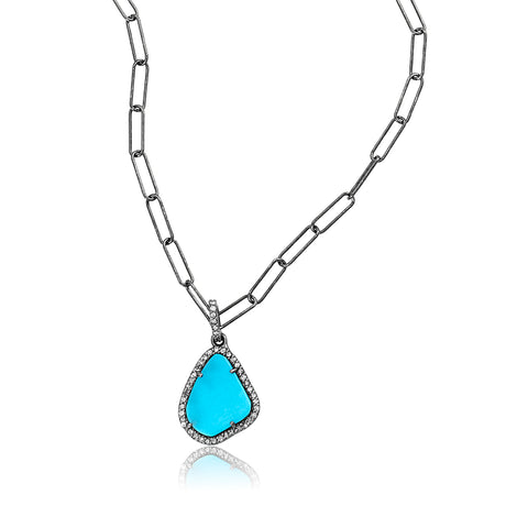 Sleeping Beauty Turquoise Slice Diamond Halo Necklace silver
