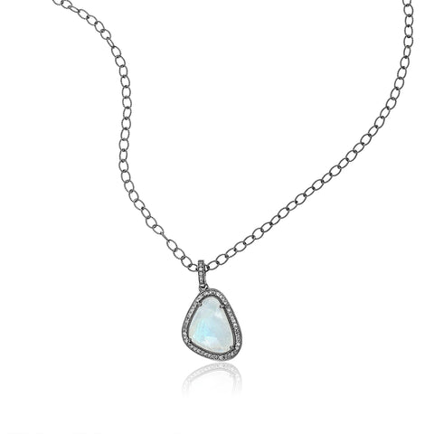Slice Diamond Halo Moonstone Pendant Necklace silver