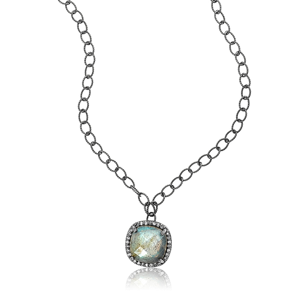 Cushion Cut Diamond Halo Labradorite Pendant Necklace silver