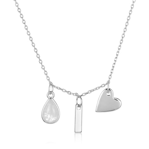 Moonstone Three Charm Necklace silver gold