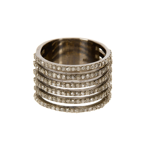 Saturnia Diamond Cigar Band Multi-Band Ring silver