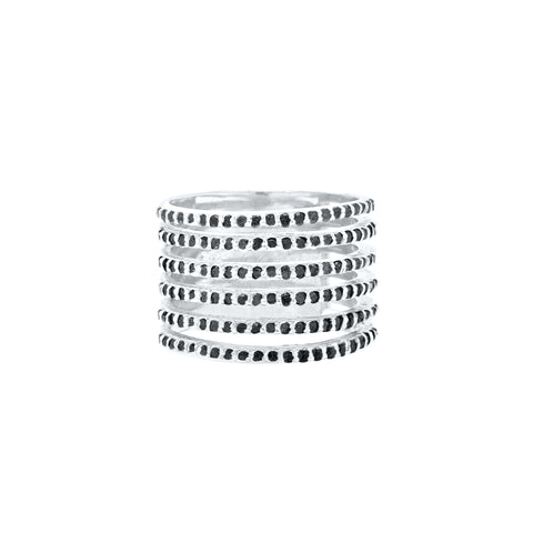 Saturnia Black Spinel Cigar Band Multi-Band Ring silver