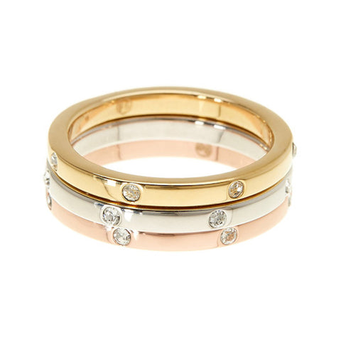 Tri-Color Dotted Eternity Band Set silver gold rose gold