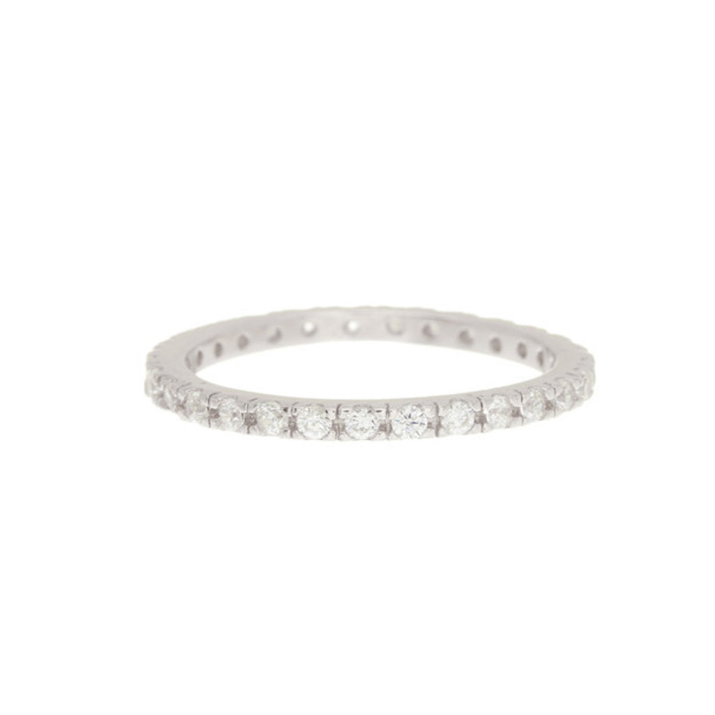 Crystal Eternity Band Ring silver rose gold