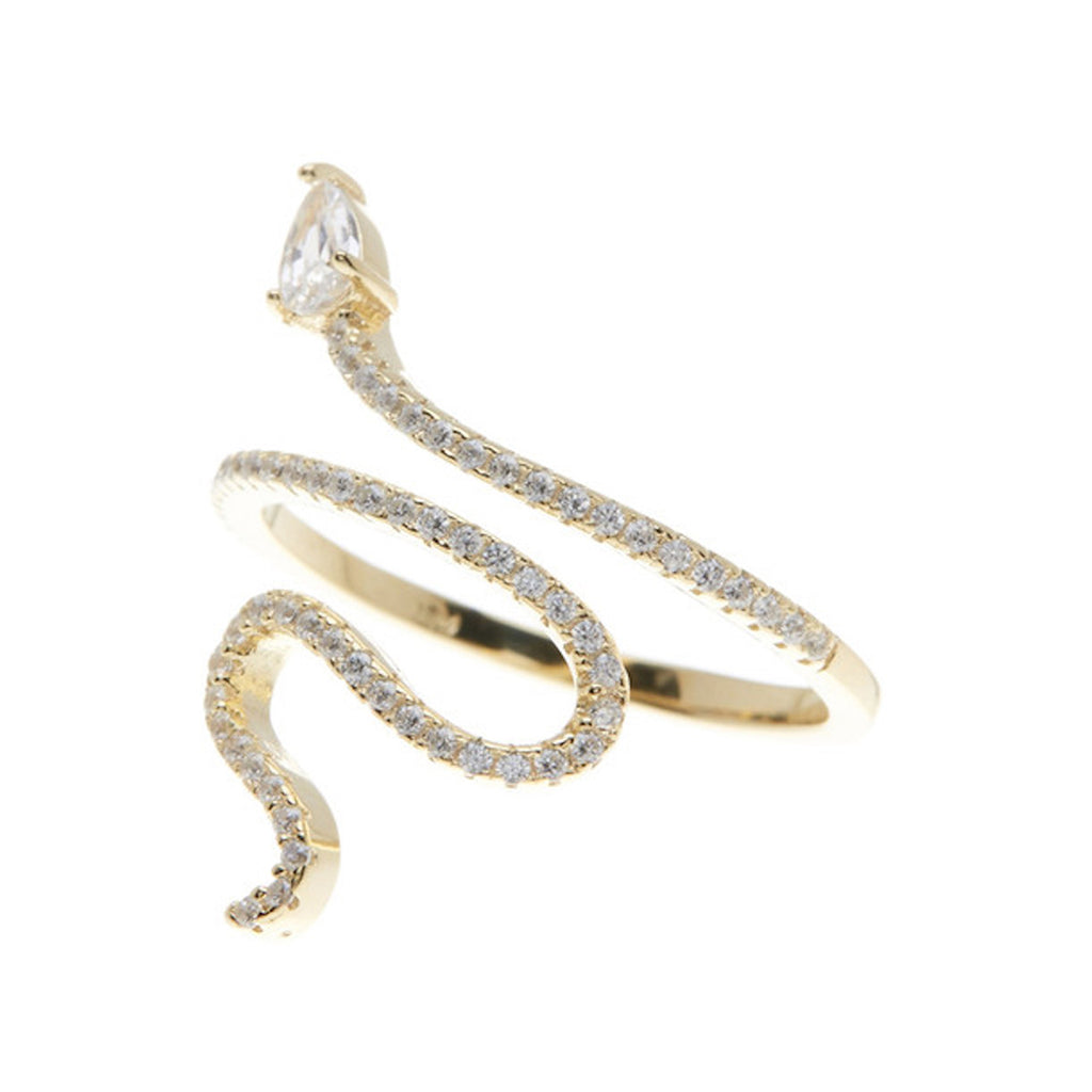 Snake Crystal Ring silver gold