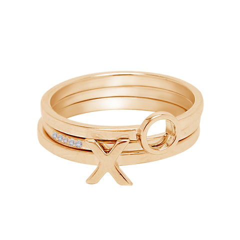 XO Stack Ring Stacking Set silver gold rose gold