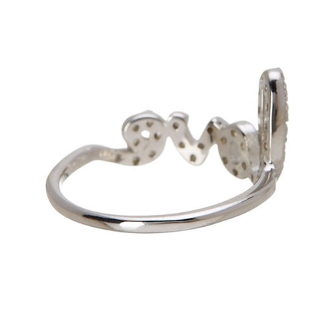 Crystal Cursive Love Ring silver