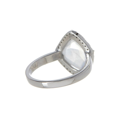 Mini Sasha Moonstone Diamond Halo Ring moonstone white silver