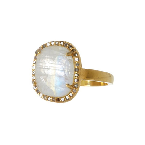 Mini Sasha Moonstone Diamond Halo Ring moonstone gold