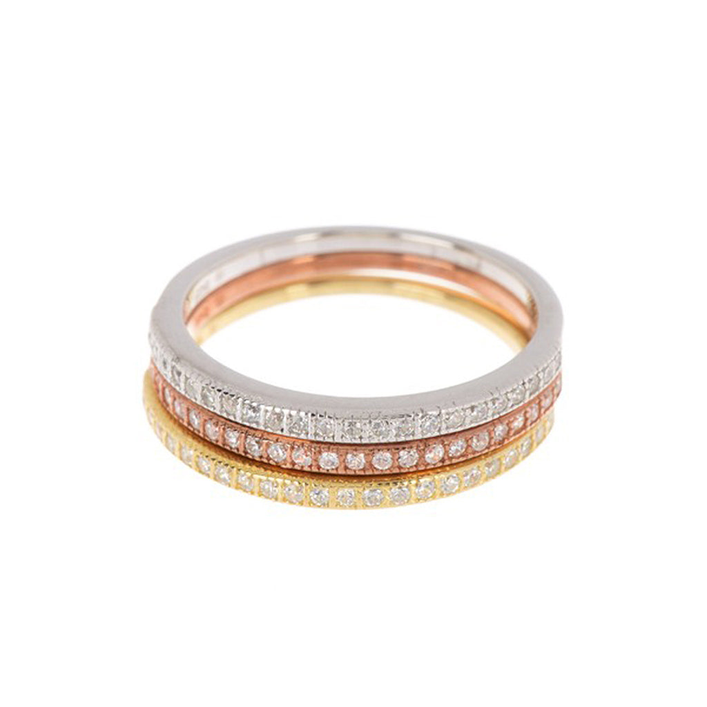 Half Eternity Band Set silver yellow gold rose gold
