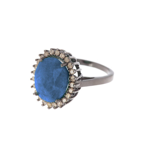 Floral Diamond Halo Sapphire Ring silver