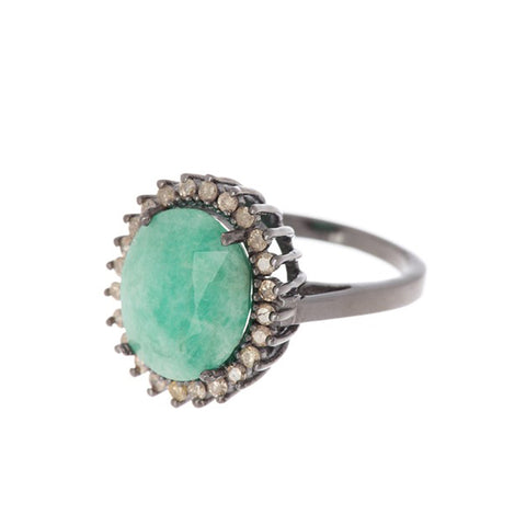 Floral Diamond Halo Emerald Ring silver
