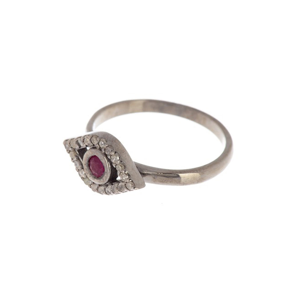 Ruby and Diamond Evil Eye Ring silver
