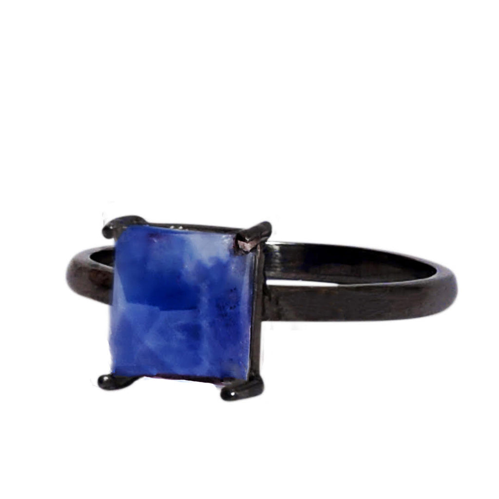 Emerald Cut Prong Set Ring blue sapphire silver gold