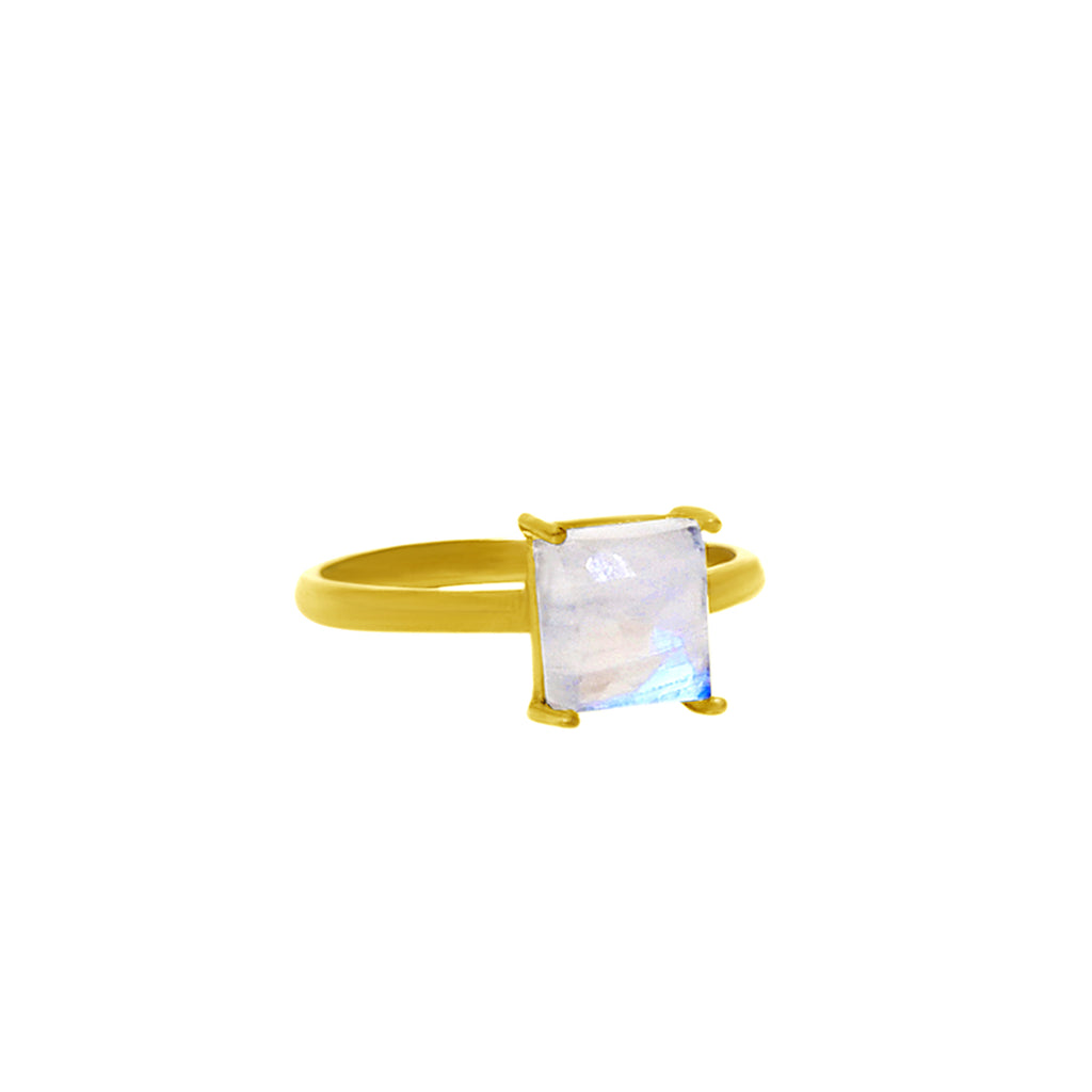 Emerald Cut Prong Set Ring moonstone silver gold