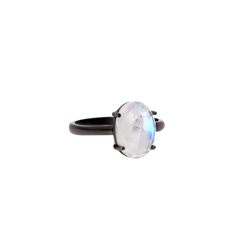 Oval Cut Prong Set Moonstone Ring moonstone silver gold