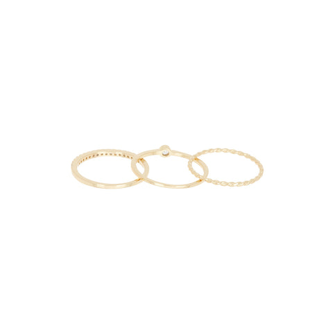 Three Band Ring Set silver gold