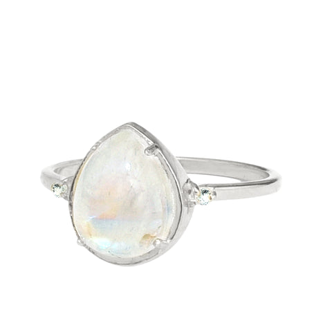 Pear Cut Rainbow Moonstone Ring silver white topaz
