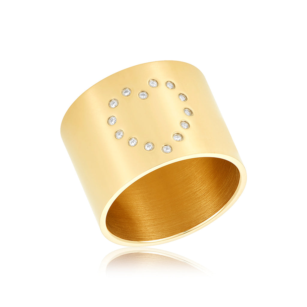Dotted Pave Heart Cigar Band gold