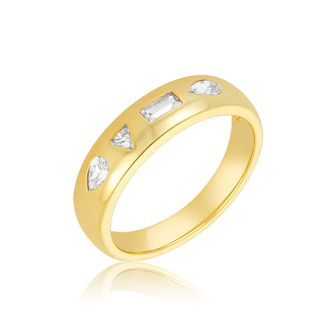 Mixed Shapes Chunky Ring Band gold