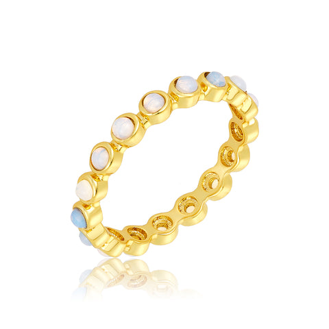 2mm Bezeled Opalite Eternity Band Ring gold