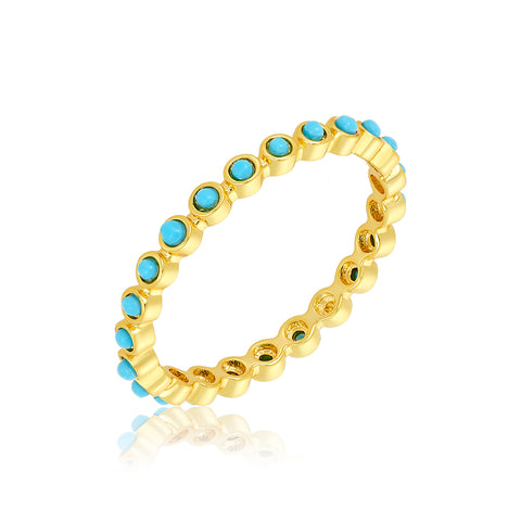 2mm Bezeled Turquoisette Eternity Band Ring gold