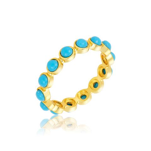 4mm Bezeled Turquoisette Eternity Band Ring gold
