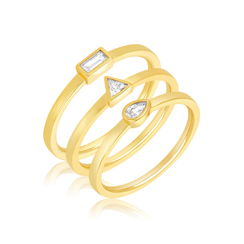 Multi Shape Ring Band Stacking Set gold