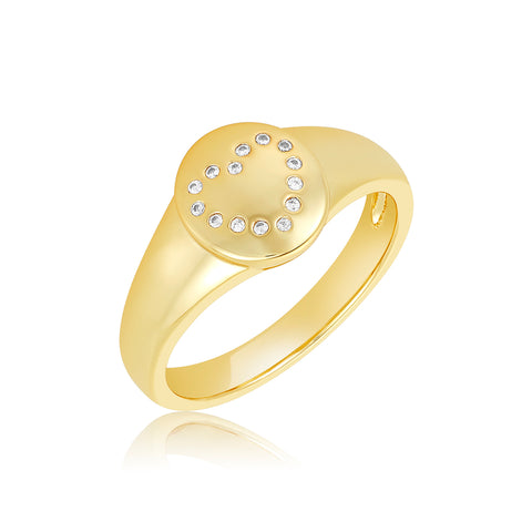 Dotted Pave Heart Signet Ring gold