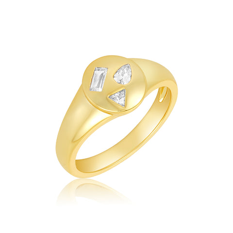 Multi Shape Stones Signet Ring gold