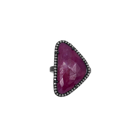 Marea Ruby and Diamond Halo Slice Ring silver
