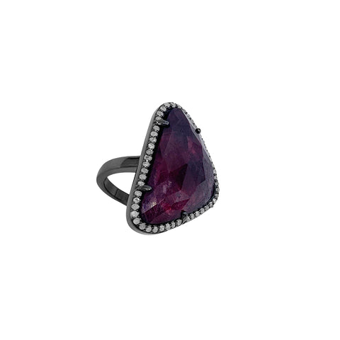 Marea Dark Ruby and Diamond Halo Slice Ring silver