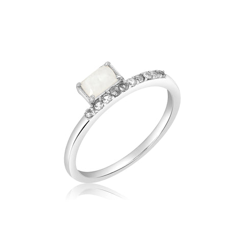 Baguette Rainbow Moonstone Floating Ring silver white topaz