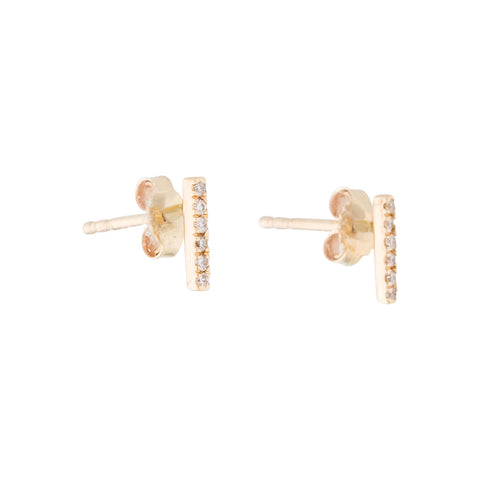 Diamond Bar Studs 14k solid gold