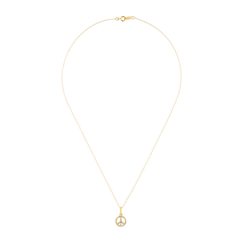 Diamond Peace Necklace 14k gold diamond