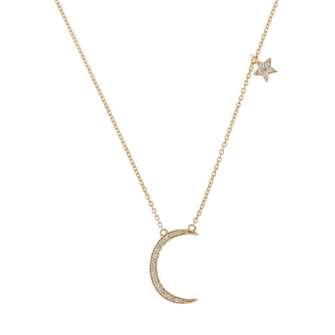 Diamond Moon and Star Necklace 14k gold diamond